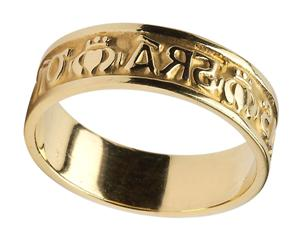 Mens 14k Gold Gra Dilseacht Cairdeas Love Loyalty and Friendship Wedding Band WBWED214